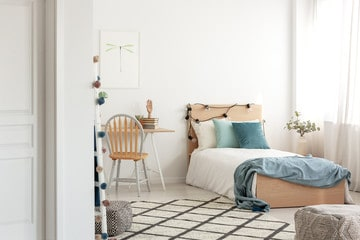 White room with a pop of colour