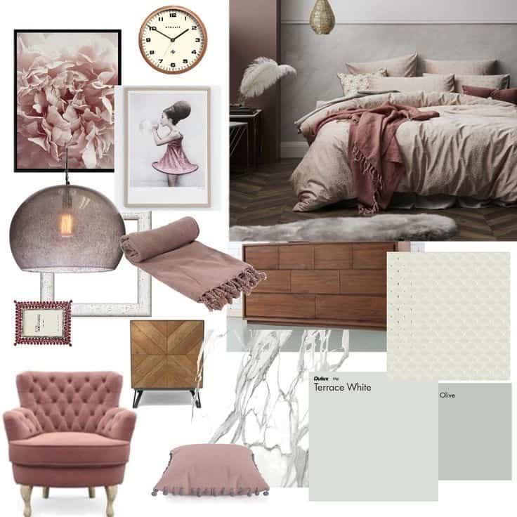 Interior design mood board with pastel theme