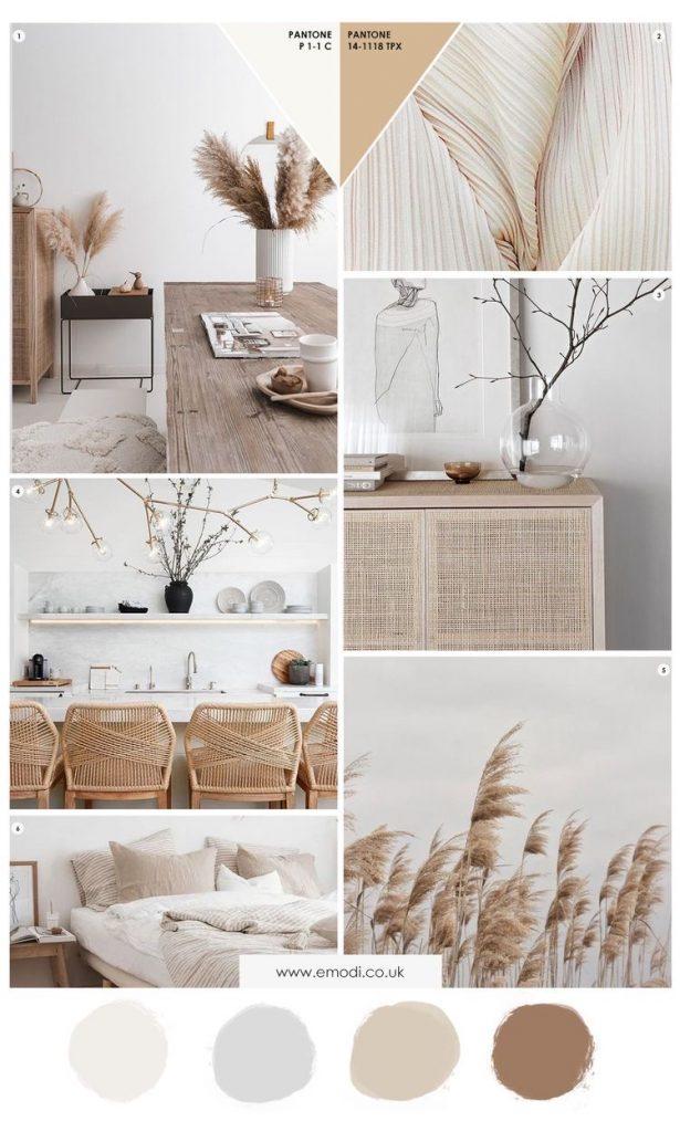Interior design mood board with earthy theme