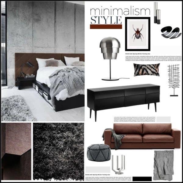 Interior design mood board with modern theme