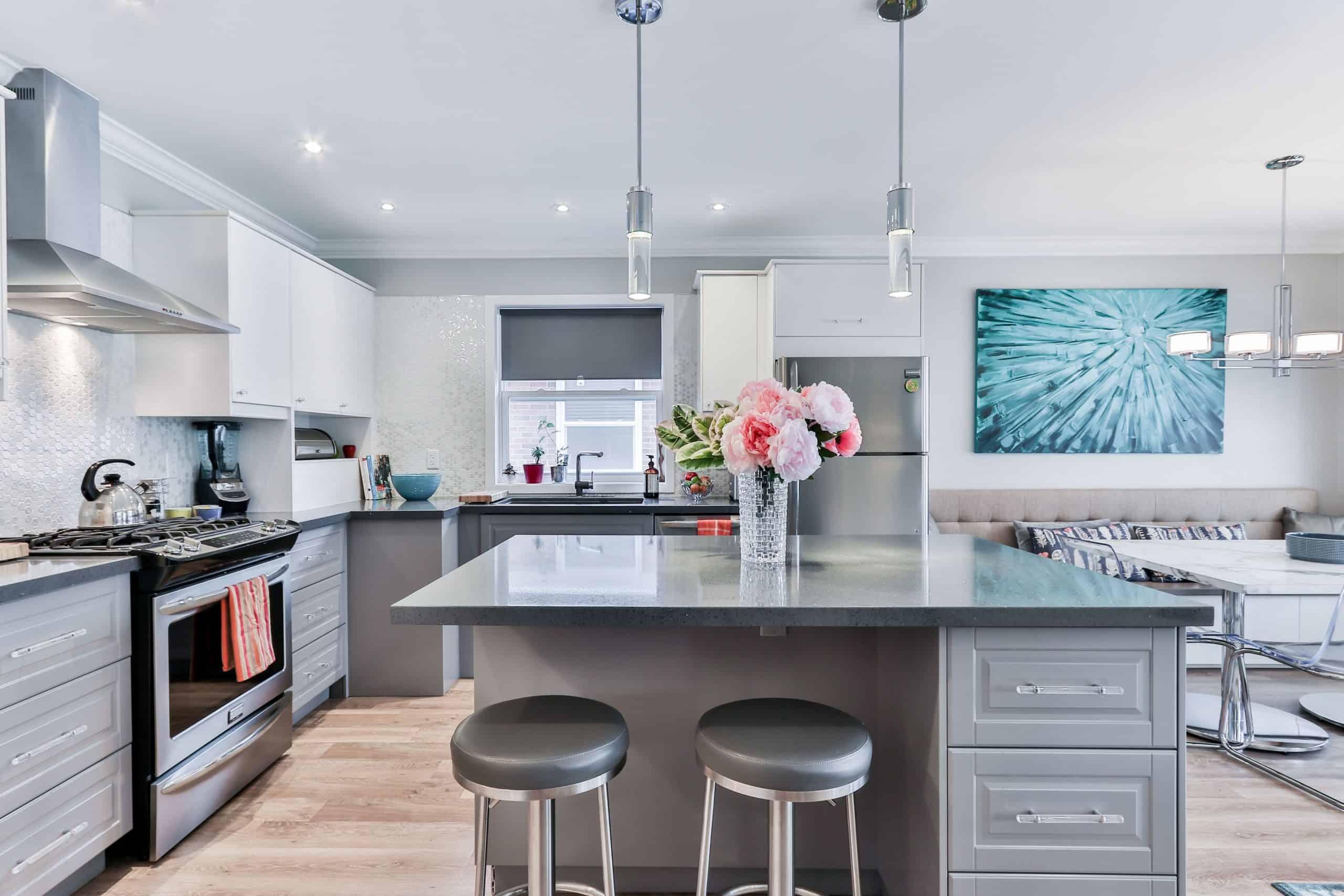 Grey themed Modular Kitchen